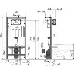 ALCAPLAST - SET Sádromodul - predstenový inštalačný systém + tlačidlo M1710 + WC CERSANIT ARES (AM101/1120 M1710 AR1)