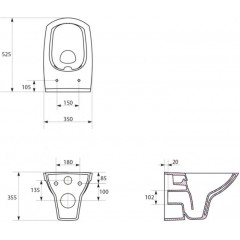 ALCAPLAST - SET Sádromodul - predstenový inštalačný systém + tlačidlo M1710 + WC CERSANIT CLEANON CARINA + SEDADLO (AM101/1120 M1710 CA1)