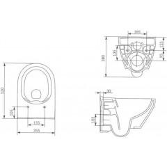 ALCAPLAST - SET Sádromodul - predstenový inštalačný systém + tlačidlo M1720-1 + WC CERSANIT CLEANON CREA OVÁL + SEDADLO (AM101/1120 M1720-1 CR1)