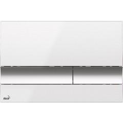 ALCAPLAST Sádromodul - predstenový inštalačný systém s bielym / chróm tlačidlom M1720-1 + WC LAUFEN PRO RIMLESS + SEDADLO (AM101/1120 M1720-1 LP1)