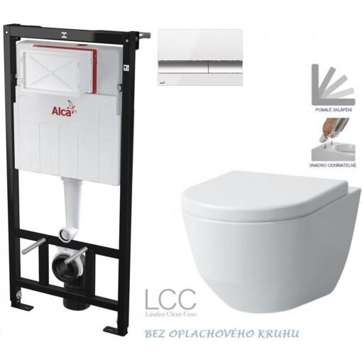 ALCAPLAST Sádromodul - predstenový inštalačný systém s bielym / chróm tlačidlom M1720-1 + WC LAUFEN PRO LCC RIMLESS + SEDADLO AM101/1120 M1720-1 LP2