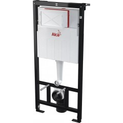 ALCAPLAST Sádromodul - predstenový inštalačný systém s bielym / chróm tlačidlom M1720-1 + WC LAUFEN PRO + SEDADLO (AM101/1120 M1720-1 LP3)