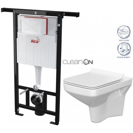 ALCAPLAST Jádromodul - predstenový inštalačný systém bez tlačidla + WC CERSANIT CLEANON COMO + SEDADLO (AM102/1120 X CO1)