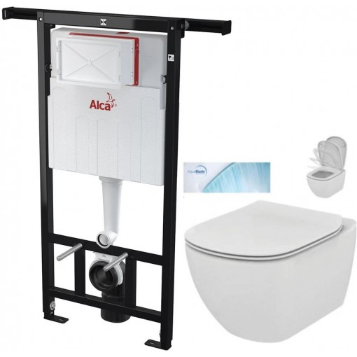 ALCAPLAST - SET Jádromodul - predstenový inštalačný systém + WC TESI so sedadlom SoftClose, AquaBlade (AM102/1120 X TE1)