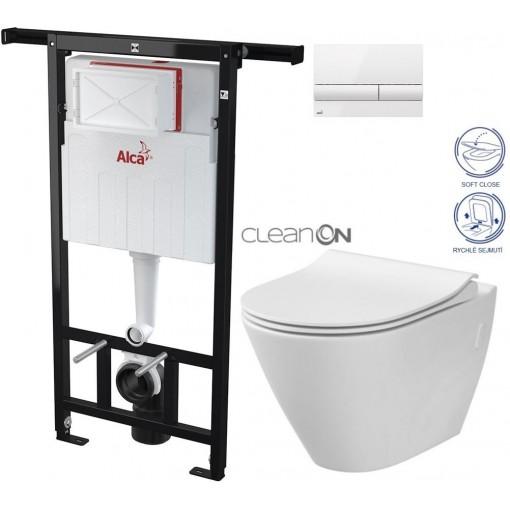 ALCAPLAST - SET Jádromodul - predstenový inštalačný systém + tlačidlo M1710 + WC CERSANIT CLEANON CITY + SEDADLO (AM102/1120 M1710 CI1)