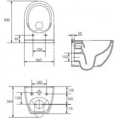 ALCAPLAST - SET Jádromodul - predstenový inštalačný systém + tlačidlo M1720-1 + WC CERSANIT CLEANON URBAN HARMONY + SEDADLO (AM102/1120 M1720-1 HA1)