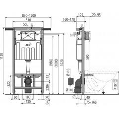 ALCAPLAST - SET Jádromodul - predstenový inštalačný systém + tlačidlo M1721 + WC CERSANIT ARES (AM102/1120 M1721 AR1)