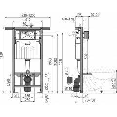 ALCAPLAST - SET Jádromodul - predstenový inštalačný systém + tlačidlo M1721 + WC CERSANIT MITO + SEDADLO (AM102/1120 M1721 MI1)