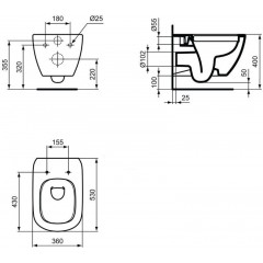 ALCAPLAST Jádromodul - predstenový inštalačný systém s bielym tlačidlom M1710 + WC Ideal Standard Tesi se sedlem RIMLESS (AM102/1120 M1710 TE2)