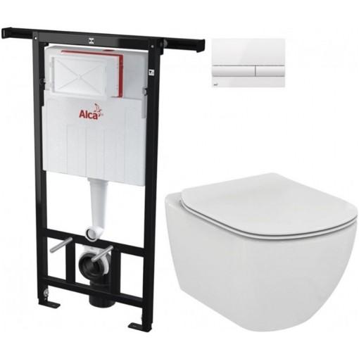 ALCAPLAST Jádromodul - predstenový inštalačný systém s bielym tlačidlom M1710 + WC Ideal Standard Tesi se sedadlem (AM102/1120 M1710 TE3)