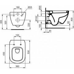 ALCAPLAST - SET Jádromodul - predstenový inštalačný systém + tlačidlo M1710 + WC TESI (AM102/1120 M1710 TE3)