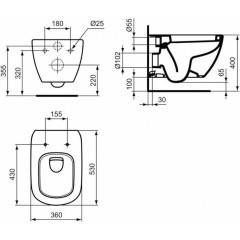 ALCAPLAST Renovmodul - predstenový inštalačný systém bez tlačidla + WC Ideal Standard Tesi se sedadlem (AM115/1000 X TE3)