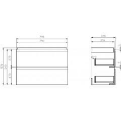 CERSANIT - SET 978 MODUO SLIM 80 BIELA DSM (SKRINKA + UMÝVADLO) S801-225-DSM
