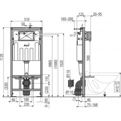 ALCAPLAST - SET Sádromodul - predstenový inštalačný systém + tlačidlo M1720-1 + WC CERSANIT CLEANON MODUO + SEDADLO (AM101/1120 M1720-1 MO1)