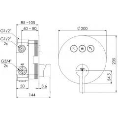 STEINBERG - Podomietková batéria so systémom PUSHTRONIC, 3 výstupy 390 2331