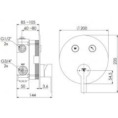 STEINBERG - Podomietková batéria so systémom PUSHRTONIC, 2 výstupy 390 2321