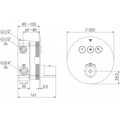 STEINBERG - Podomietková termostatická batéria so systémom PUSTRONIC, 3 výstupy 390 4331