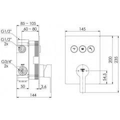 STEINBERG - Podomietková páková batéria so systémom PUSHTRONIC, 3 výstupy 390 2231