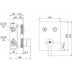 STEINBERG - Podomietková páková batéria so systémom PUSHTRONIC, 2 výstupy 390 2221