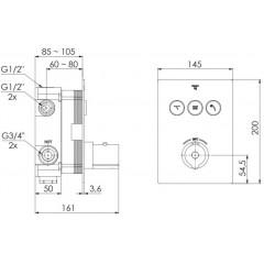 STEINBERG - Podomietková termostatická batéria zo systémom PUSHTRONIC, 3 výstupy (390 4231)