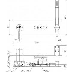 STEINBERG - Podomietková páková súprava so systémom PUSHTRONIC, 3 výstupy 390 2232