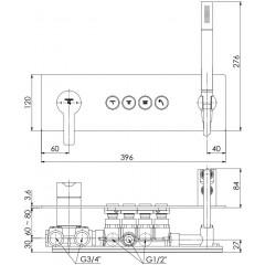 STEINBERG - Podomietková páková súprava so systémom PUSHTRONIC, 4 výstupy 390 2242