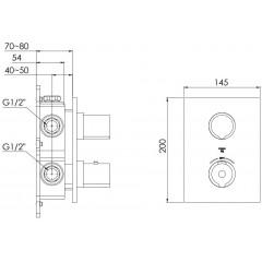 STEINBERG - Podomietková termostatická batéria, 2-cestná / bez telesa /, chróm 120 4133 1