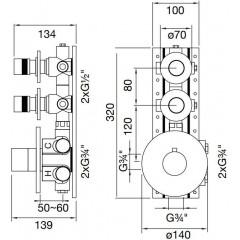 STEINBERG - Podomietková termostatická sprchová batéria, 2 výstupy, chróm 100 4320