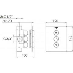 STEINBERG - Podomítkový 3-cestný ventil, včetně podomít. tělesa, chrom 390 4131