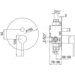 STEINBERG - Podomietková páková batéria pre vaňu / sprchu s prepínačom, čierna mat 260 2103 S