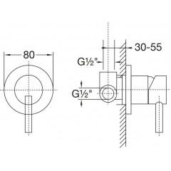 """STEINBERG - Podomietková páková batéria vrátane montážneho telesa 1/2 """", chróm 100 2250"""