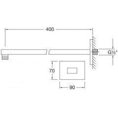 STEINBERG - Nástenné sprchové rameno 400mm, čierna mat 120 7910 S