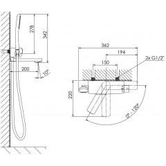 STEINBERG - Nástenná vaňová termostatická batéria s príslušenstvom, chróm 390 3172