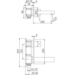 STEINBERG - Podomietková umývadlová batéria - dvojcestná, bez montážneho telesa, chróm (120 1864)