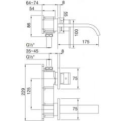 STEINBERG - Nástenná umývadlová batéria bez montážneho telesa, chróm 135 1804