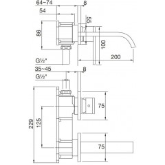 STEINBERG - Nástenná umývadlová batéria bez montážneho telesa, chróm 135 1814