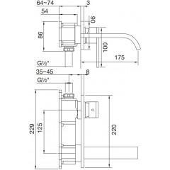 STEINBERG - Nástenná umývadlová batéria bez montážneho telesa, chróm 135 1854