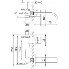 STEINBERG - Nástenná umývadlová batéria vrátane podomietkového telesa, chróm 135 1803