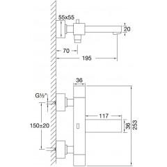 STEINBERG - Nástenná termostatická vaňová batéria 160 3100