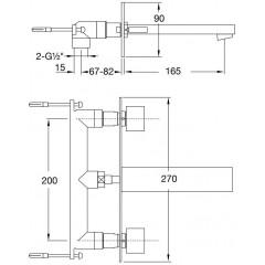 STEINBERG - Podomietková umývadlová batéria 3-otvorová 160 1950