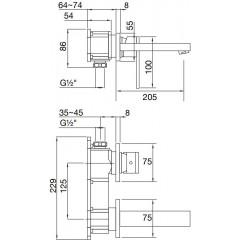 STEINBERG - Podomietková páková umývadlová batéria, s ramienkom 200mm, čierna mat (160 1814 S)