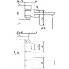 STEINBERG - Podomietková umývadlová batéria 2-otvorová bez montážneho telesa, chróm 160 1824