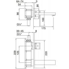 STEINBERG - Podomietková umývadlová batéria 2-otvorová bez montážneho telesa, chróm (160 1854)