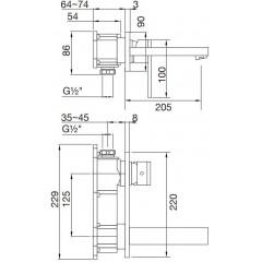 STEINBERG - Podomietková umývadlová batéria 2-otvorová bez montážneho telesa, chróm (160 1864)