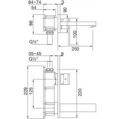STEINBERG - Podomietková umývadlová batéria 2-otvorová bez montážneho telesa, chróm 160 1874