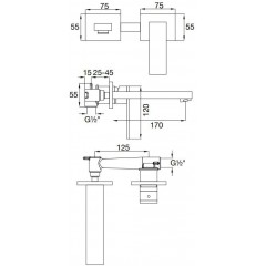 STEINBERG - Podomietková umývadlová batéria 2-otvorová vrátane mosadzného telesa, chróm 160 1802