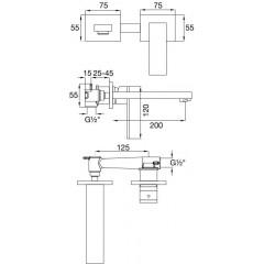 STEINBERG - Podomietková umývadlová batéria 2-otvorová vrátane mosadzného telesa, chróm 160 1816