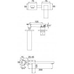 STEINBERG - Podomietková umývadlová batéria 2-otvorová vrátane mosadzného telesa, chróm (160 1820)
