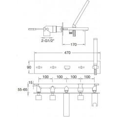 STEINBERG - Podomietková vaňová batéria 5-otvorová vrátane montážneho telesa, chróm 160 2692