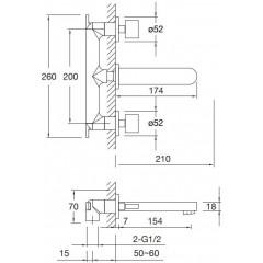 STEINBERG - Podomietková umývadlová batéria 3-otvorová 170 1900